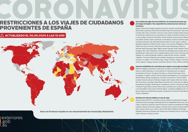 Vetos, restricciones o cuarentena obligatoria: estos son los problemas para viajar desde España a otros países